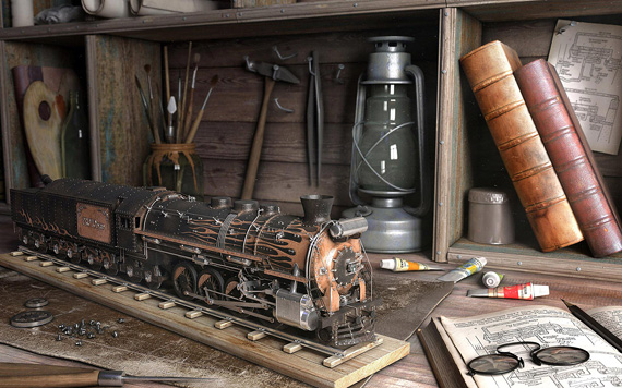 train 3D model, Denis Tolkishevsky
