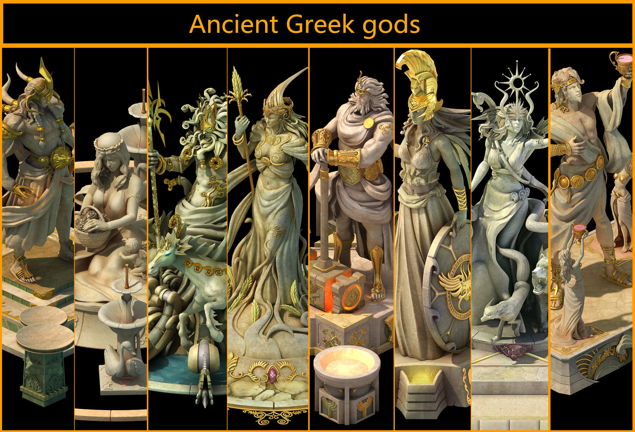 Ancient greek gods | CGTrader
